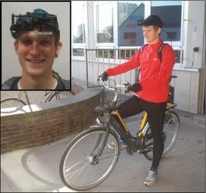 Bij een onderzoeker van de Universiteit Gent kreeg een fietser een eyetracker op die nauwkeurig registreerde naar waar een fietser kijkt tijdens het fietsen over een slecht en een goed fietspad.