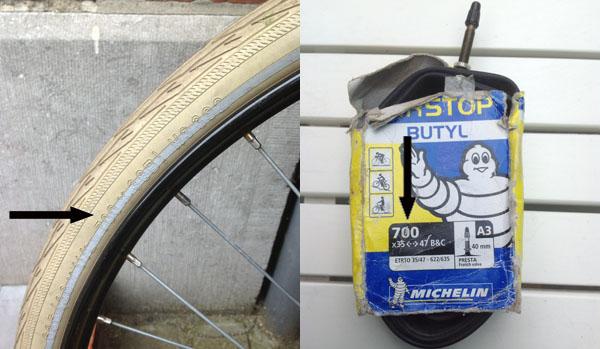 De bandenmaat is af te lezen op de zijkant van een band. Er staan veel cijfers op - als je twijfelt schrijf dan alles op voor de fietsenmaker - maar meestal gaat het om 650 (65cm) of 700 (70cm).