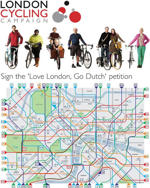 """Boven: de """"Ga Hollands""""-campagne en onder: een indrukwekkende fietsroutekaart van London."""